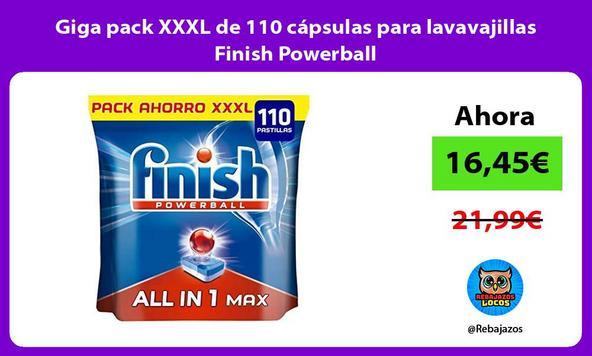 Giga pack XXXL de 110 cápsulas para lavavajillas Finish Powerball