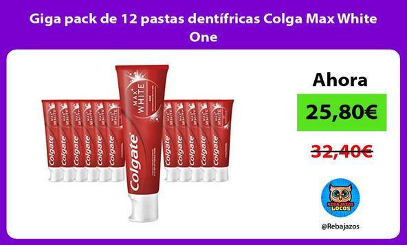 Giga pack de 12 pastas dentífricas Colga Max White One