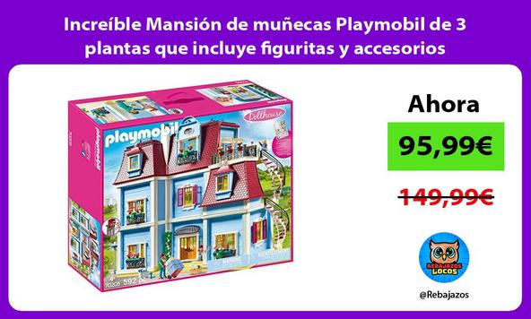 Increíble Mansión de muñecas Playmobil de 3 plantas que incluye figuritas y accesorios