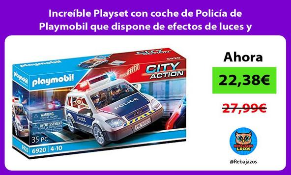 Increíble Playset con coche de Policía de Playmobil que dispone de efectos de luces y sonidos