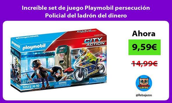 Increíble set de juego Playmobil persecución Policial del ladrón del dinero