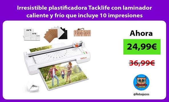Irresistible plastificadora Tacklife con laminador caliente y frío que incluye 10 impresiones