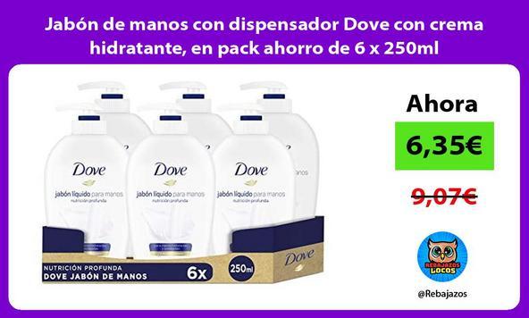 Jabón de manos con dispensador Dove con crema hidratante, en pack ahorro de 6 x 250ml/