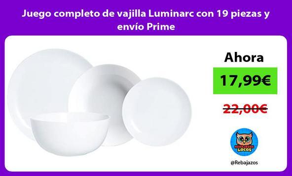 Juego completo de vajilla Luminarc con 19 piezas y envío Prime