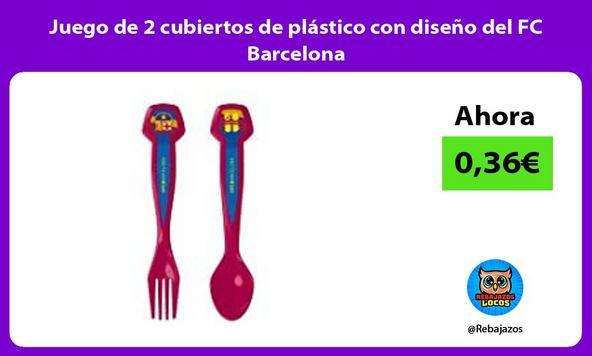 Juego de 2 cubiertos de plástico con diseño del FC Barcelona