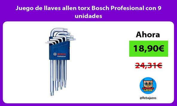 Juego de llaves allen torx Bosch Profesional con 9 unidades