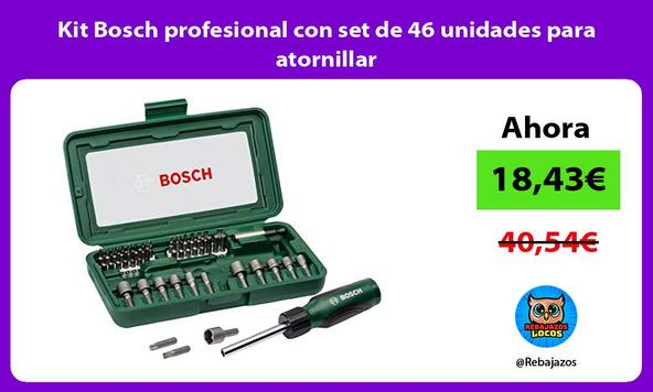 Kit Bosch profesional con set de 46 unidades para atornillar