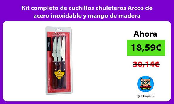 Kit completo de cuchillos chuleteros Arcos de acero inoxidable y mango de madera