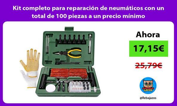 Kit completo para reparación de neumáticos con un total de 100 piezas a un precio mínimo