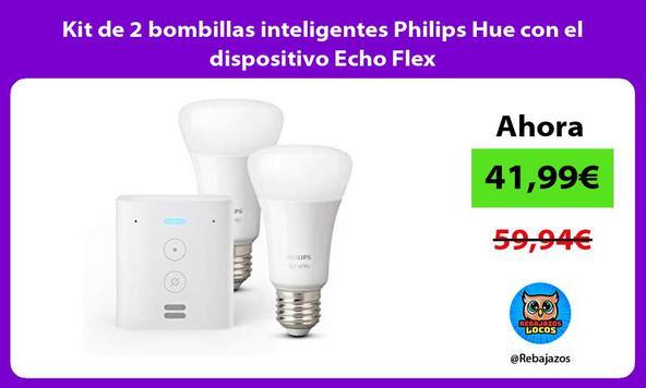Kit de 2 bombillas inteligentes Philips Hue con el dispositivo Echo Flex