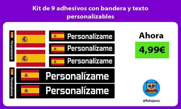 Kit de 9 adhesivos con bandera y texto personalizables