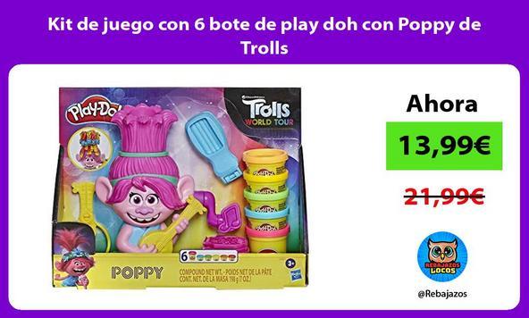 Kit de juego con 6 bote de play doh con Poppy de Trolls