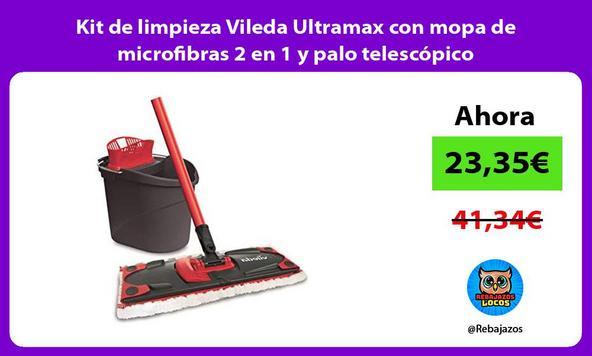 Kit de limpieza Vileda Ultramax con mopa de microfibras 2 en 1 y palo telescópico