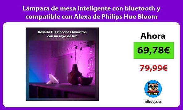 Lámpara de mesa inteligente con bluetooth y compatible con Alexa de Philips Hue Bloom