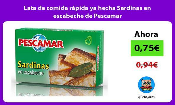 Lata de comida rápida ya hecha Sardinas en escabeche de Pescamar