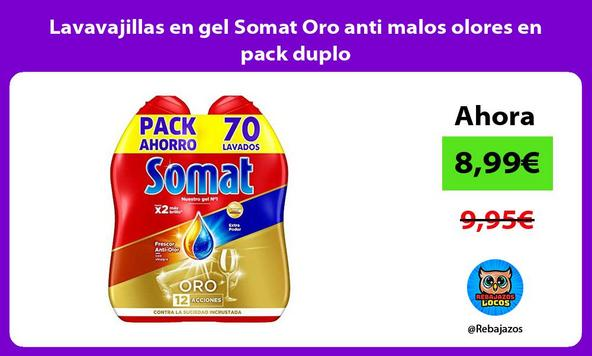 Lavavajillas en gel Somat Oro anti malos olores en pack duplo