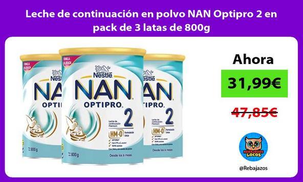 Leche de continuación en polvo NAN Optipro 2 en pack de 3 latas de 800g