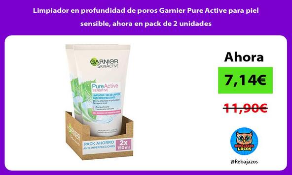 Limpiador en profundidad de poros Garnier Pure Active para piel sensible, ahora en pack de 2 unidades