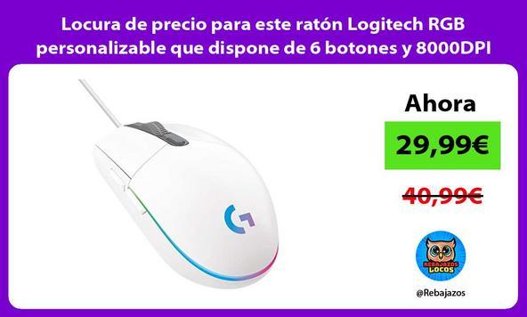 Locura de precio para este ratón Logitech RGB personalizable que dispone de 6 botones y 8000DPI