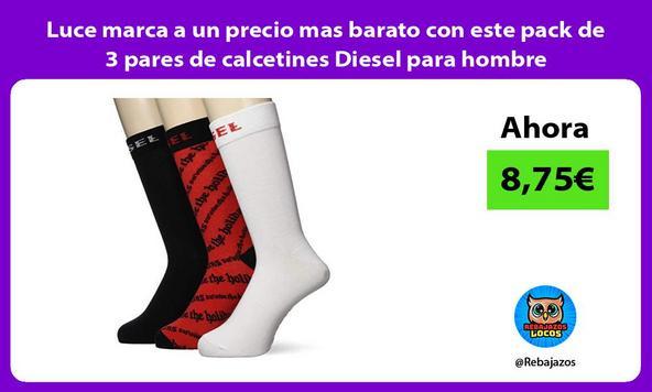 Luce marca a un precio mas barato con este pack de 3 pares de calcetines Diesel para hombre