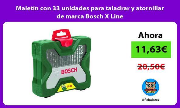 Maletín con 33 unidades para taladrar y atornillar de marca Bosch X Line
