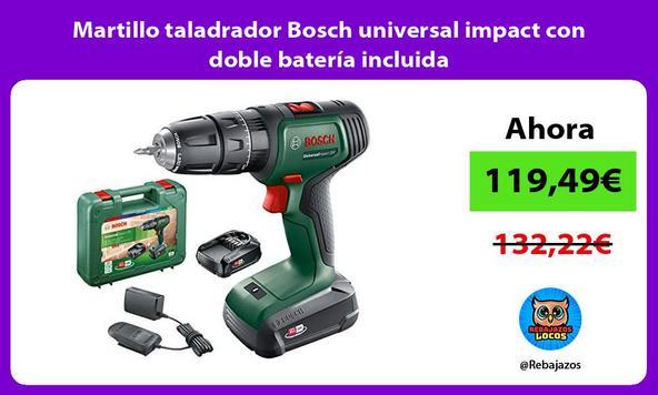 Martillo taladrador Bosch universal impact con doble batería incluida