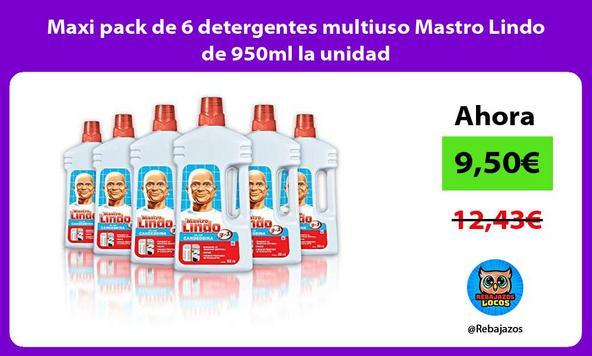 Maxi pack de 6 detergentes multiuso Mastro Lindo de 950ml la unidad
