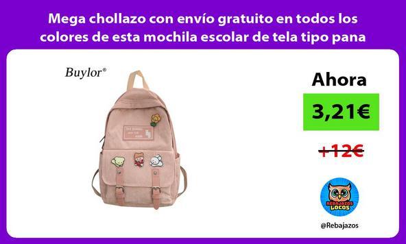 Mega chollazo con envío gratuito en todos los colores de esta mochila escolar de tela tipo pana