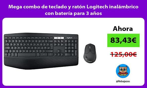 Mega combo de teclado y ratón Logitech inalámbrico con batería para 3 años