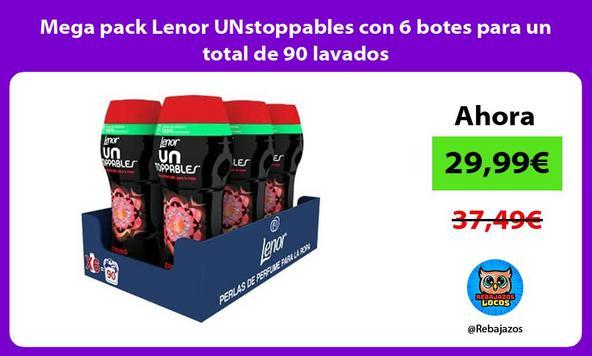 Mega pack Lenor UNstoppables con 6 botes para un total de 90 lavados