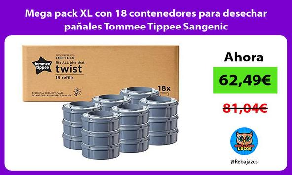 Mega pack XL con 18 contenedores para desechar pañales Tommee Tippee Sangenic