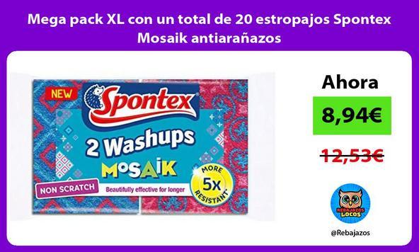 Mega pack XL con un total de 20 estropajos Spontex Mosaik antiarañazos