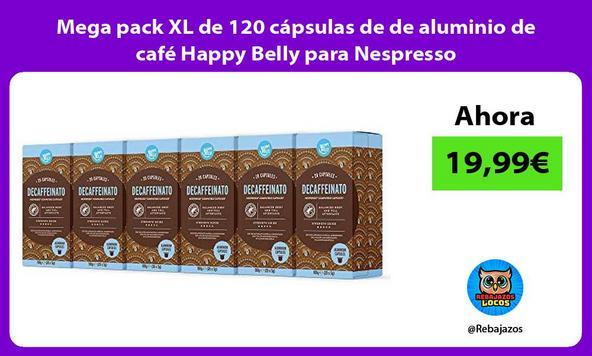 Mega pack XL de 120 cápsulas de de aluminio de café Happy Belly para Nespresso