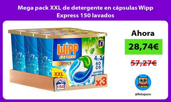 Mega pack XXL de detergente en cápsulas Wipp Express 150 lavados
