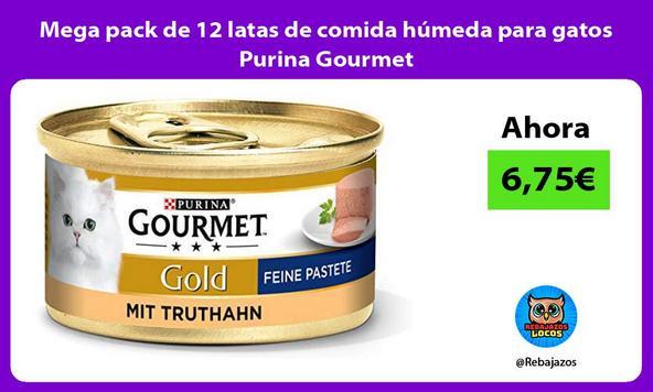 Mega pack de 12 latas de comida húmeda para gatos Purina Gourmet