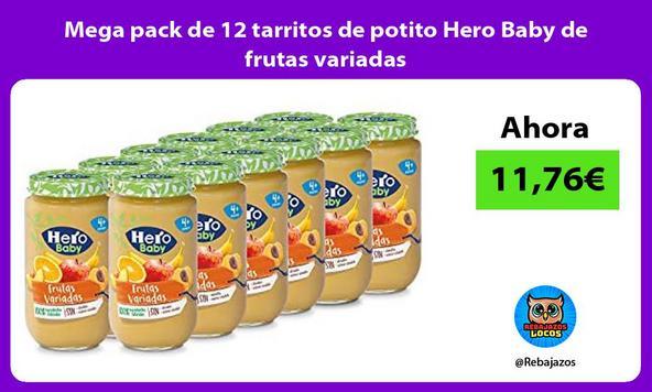 Mega pack de 12 tarritos de potito Hero Baby de frutas variadas