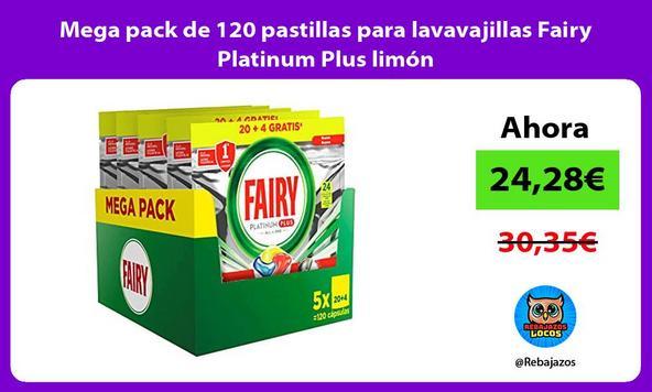 Mega pack de 120 pastillas para lavavajillas Fairy Platinum Plus limón