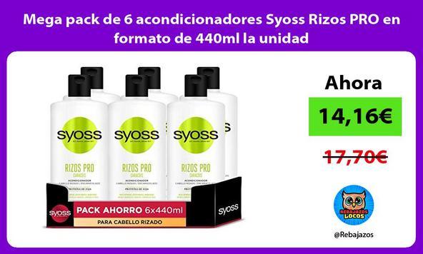 Mega pack de 6 acondicionadores Syoss Rizos PRO en formato de 440ml la unidad
