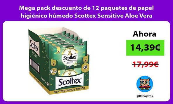 Mega pack descuento de 12 paquetes de papel higiénico húmedo Scottex Sensitive Aloe Vera