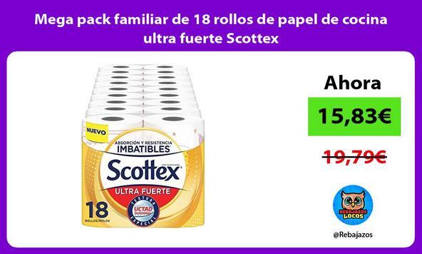 Mega pack familiar de 18 rollos de papel de cocina ultra fuerte Scottex
