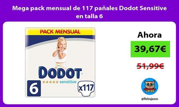 Mega pack mensual de 117 pañales Dodot Sensitive en talla 6