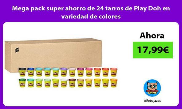 Mega pack super ahorro de 24 tarros de Play Doh en variedad de colores