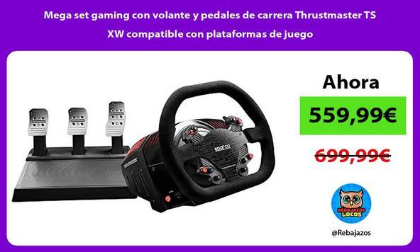 Mega set gaming con volante y pedales de carrera Thrustmaster TS XW compatible con plataformas de juego