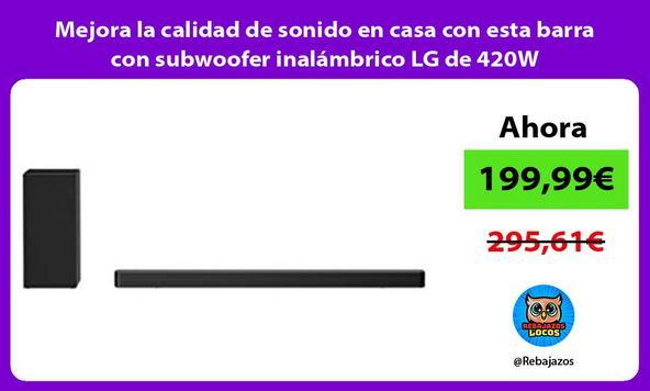 Mejora la calidad de sonido en casa con esta barra con subwoofer inalámbrico LG de 420W