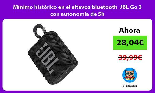 Mínimo histórico en el altavoz bluetooth JBL Go 3 con autonomía de 5h
