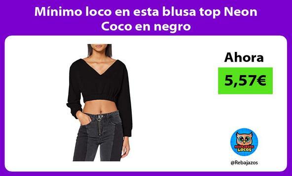 Mínimo loco en esta blusa top Neon Coco en negro
