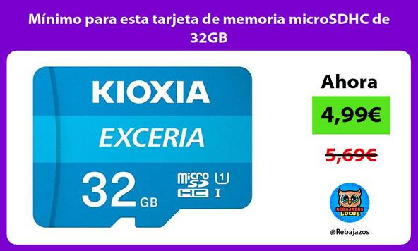 Mínimo para esta tarjeta de memoria microSDHC de 32GB