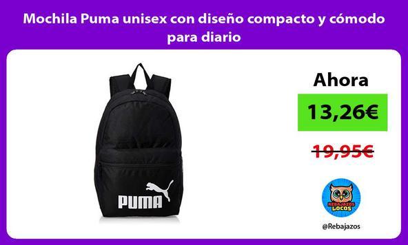 Mochila Puma unisex con diseño compacto y cómodo para diario