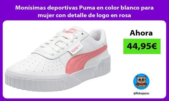 Monísimas deportivas Puma en color blanco para mujer con detalle de logo en rosa