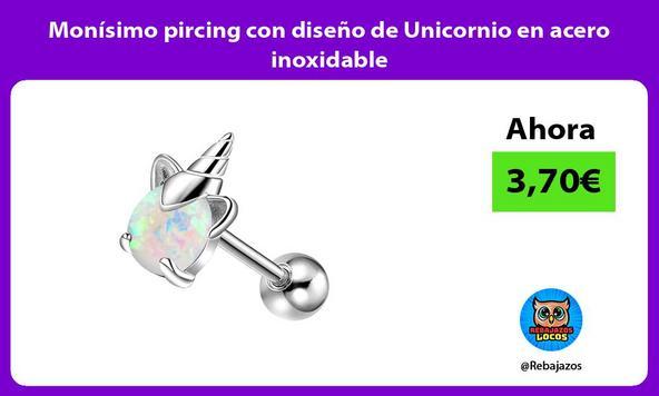 Monísimo pircing con diseño de Unicornio en acero inoxidable